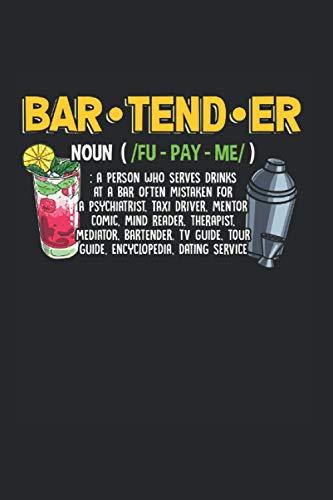 Bar: Barkeeper Definition Lustige Cocktail Getränke Barkeeper Notizbuch DIN A5 120 Seiten für Notizen Zeichnungen Formeln | Organizer Schreibheft Planer Tagebuch