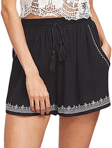 Ourjsncvns Women's Casual Shorts with Pockets Drawstring Elastic Waist Summer Beach Shorts Wide Leg Lounge Short Pants