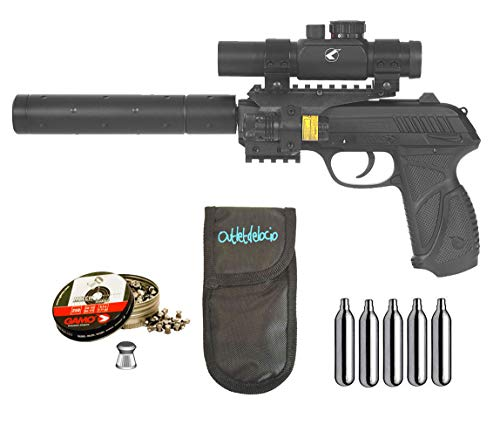 Outletdelocio. Pack Pistola Perdigón Gamo PT-85 Tactical Blowback. 4.5mm + Funda + balines + co2. 29318/38203/23054