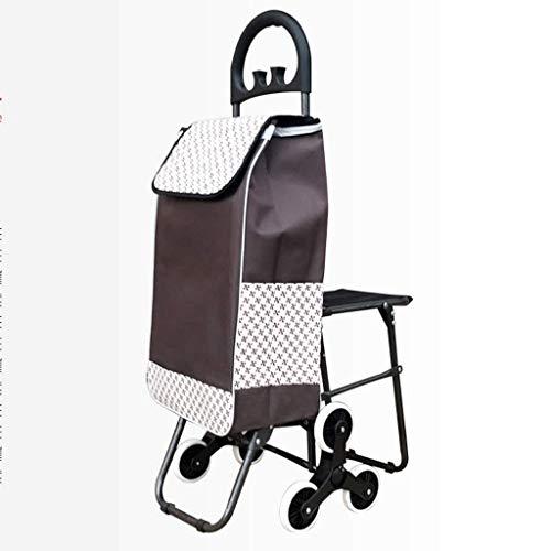 Shopping Trolleys Carretilla de Las Compras de Coches portátil Plegable de Compras de Coches de Edad Avanzada con Silla de Subir escaleras Comprar un Auto (Color : Brown)