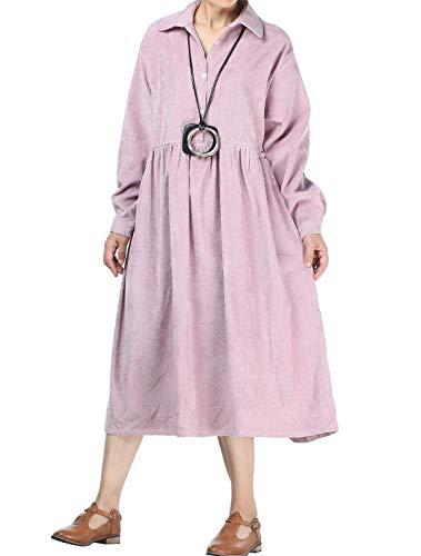 Mallimoda Damen Vintage Corduroy Casual Kleider Swing Langarm Shirt Kleider Rosa M