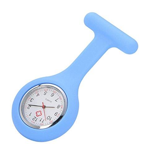 hunpta Uhr für Krankenschwestern, aus Silikon, mit einem Spange, inklusive Batterie, hellblau