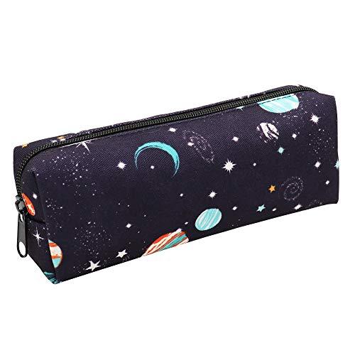 Canvas Pencil Bag Pencil Case Holder Pen Pouch for Boys Girls Kids Teens Teenagers Student Women Men (Space)