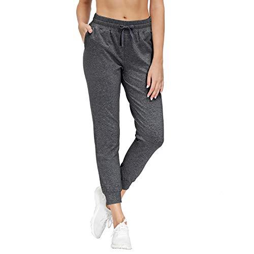 HMIYA Damen Jogginghose Baumwolle Trainingshose Freizeithose mit Taschen - Super Weich und Bequem (Dunkelgrau M)
