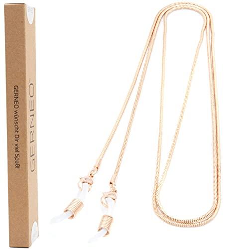 GERNEO - DAS ORIGINAL - Premium Brillenkette & Brillenband in diversen Farben - aus 18 Karat Gold oder 925er Silber - feingliedrig (rosegold) - Unisex für Lesebrille & Sonnenbrille - Kollektion 2020