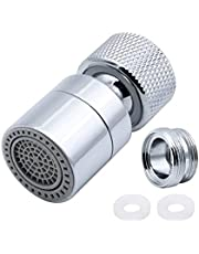 JaneYi 360° Swivel Tap Aerator Water Saving Faucet Brass Adjustable 2 Modes Kitchen Bathroom Faucet Bubbler Filter with Nozzle Adapter - for Taps with M22 External Thread or M24 Internal Thread Nozzle