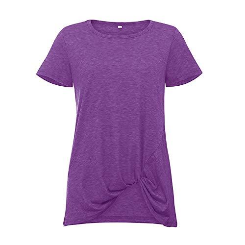 Kurzärmeliges, geknotetes Rundhals-T-Shirt für Frauen im Frühjahr und Sommer