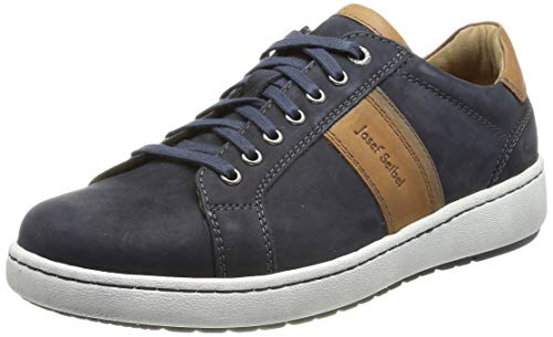 Josef Seibel Herren Low-Top Sneaker David 01,Weite H (Weit),lose Einlage,straßenschuhe,Freizeitschuhe,Men's,Man,Blau (Indigo-Kombi),44 EU / 9.5 UK