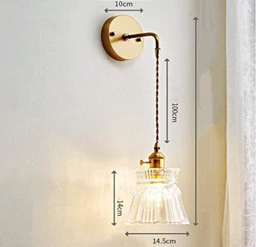Sconce wandlamp slaapkamer wandlamp creatieve slingeren muur lamp glas lampenkap messing lichaam eenvoudige vorm, warm licht, een binnenverlichting wandlampen
