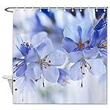happygoluck1y Blumen Blau Close Up Modern Duschvorhänge Stoff Dekorativ Wasserdicht für Badezimmer Dekor 182,9 cm lang mit Haken