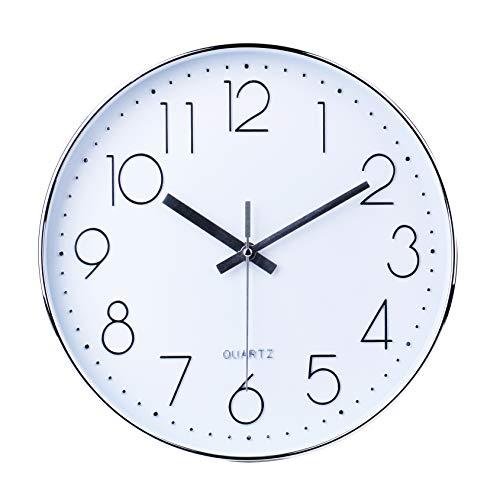 Reloj de Pared Moderno,Grandes Decorativos Silencioso Interior Reloj de Cuarzo de Cuarzo Redondo No-Ticking para Sala de Estar,Plata, Ø: 30 cm