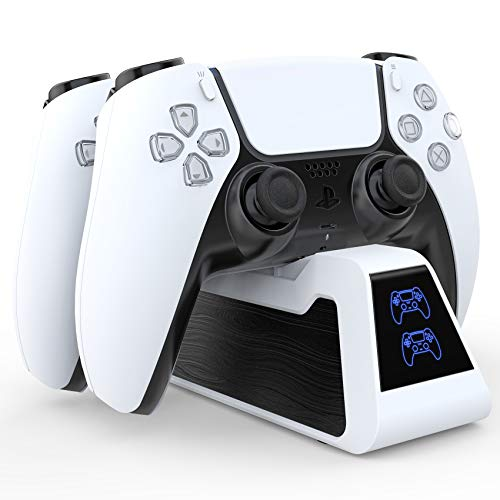 HEYSTOP PS5 Controller Charger, PS5 DualSense Wireless Charger Fast Charging Station Compatible with Sony Playstation 5 Controller white (White)