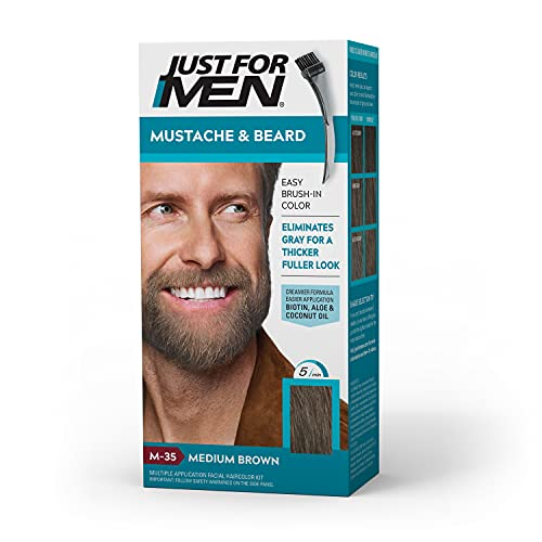 Just For Men Mustache & Beard, Beard Coloring for Gray Hair with Brush Included for Easy Application, With Biotin Aloe and Coconut Oil for Healthy Facial Hair - Medium Brown, M-35