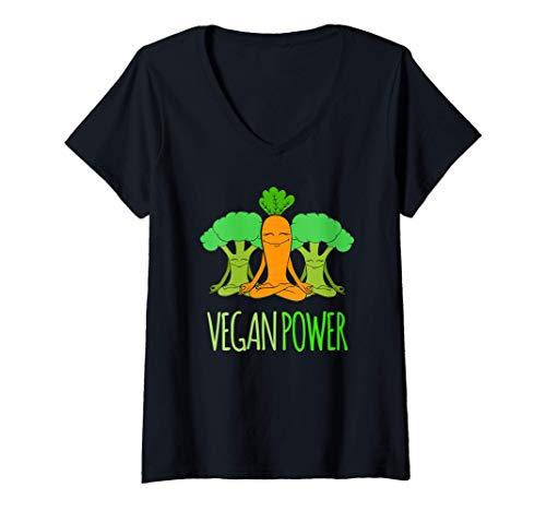 Mujer Diseño de energía vegana Camiseta Cuello V