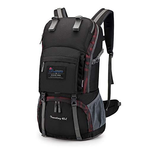 マウンテントップ(Mountaintop) アウトドア バックパック 登山リュック 40L 大容量 リュックサック 登山用バッグ ハイキングバッグ 防水 レインカバー付き (黒と赤のプリント)