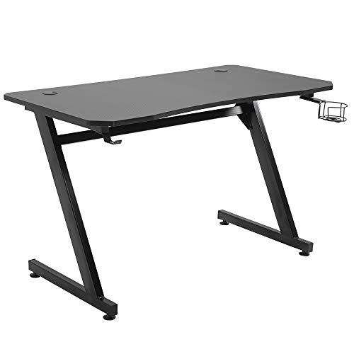 HOMCOM Gaming Desk Steel Frame with Cup Headphone Holder Adjustable Feet Cable Organiser Home Office Computer Table Black