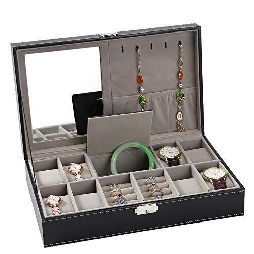 Uhrenbox Uhrenaufbewahrung Uhrenkasten Herren Damen Schmuckkästchen Geschenk Kunstleder Schmuck Aufbewahrungsbox mit 8 Positionen Und Spiegelschloss 33,5 * 20,5 * 9 Cm, Ohne Fenster