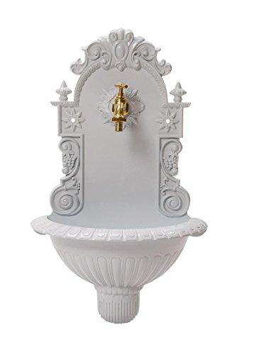 Fontaine Murale de Jardin avec Vasque - Style Antique - Aluminium - Motif grappe de Raisin - Blanc