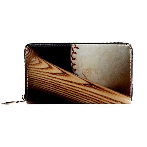 TIZORAX Old Baseballschläger und Handschuh Old Wood PU Leder Lange Geldbörse Reißverschluss Clutch Damen Geldbörse für Frauen Mädchen