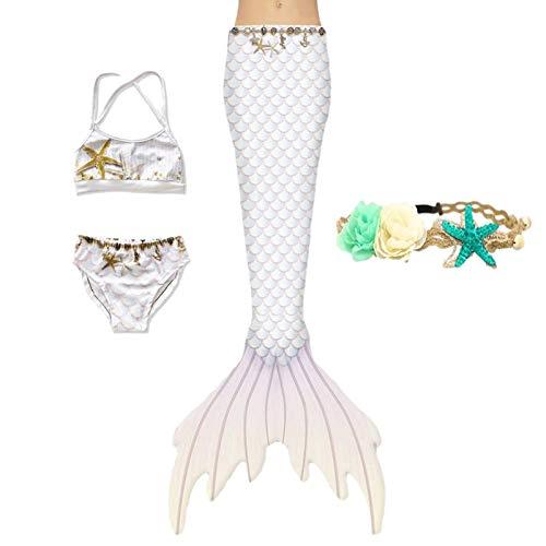 XNSGAO 4PCS Mermaid Tails for Swimming for Girls Kids Mermaid Swimsuit Costume Princess Bikini Set Bathing Suits
