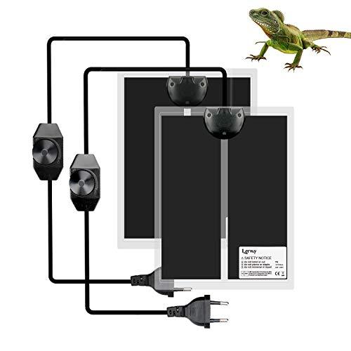 LERWAY Reptil Heizmatte, 2PCS Terrarium Heizmatte Temperaturregler Wärmematte für Reptilien Eidechse Gecko Schlangen Schildkröte Spinne (2 Pack-7W)