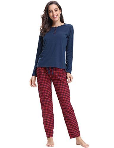 Abollria Abollria Damen Schlafanzug Pyjama Set Baumwolle Lang Nachtwäsche Langarm Hausanzug Anzug mit Tops & Bottom Pjs Set