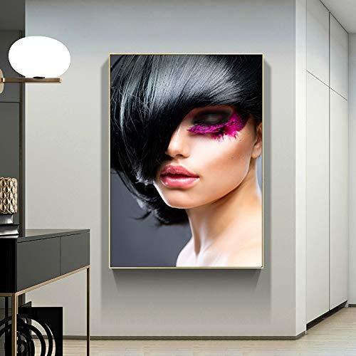 wZUN Hermosa Mujer Retrato Lienzo Pintura Carteles e Impresiones decoracin nrdica para Sala de Estar Pintura 50x70cm