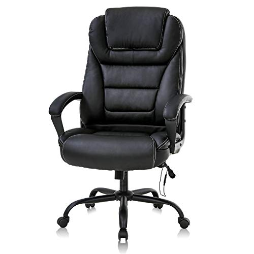 Big and Tall Office Chair Computer Chair High Back Leather Executive Home Office Chair 500lbs Wide Seat Ergonomic Desk Chair,with Lumbar Support for Heavy Swivel Rolling Task Chair PU Leather Black
