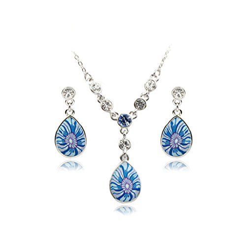 Epinki Platinum Plated Womens Jewelry Set Necklace and Earrings Flowers Cubic Zirconia White Gold