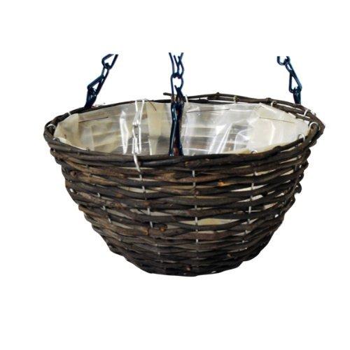 Kingfisher 12in (30cm) Dark Rattan Hanging Basket