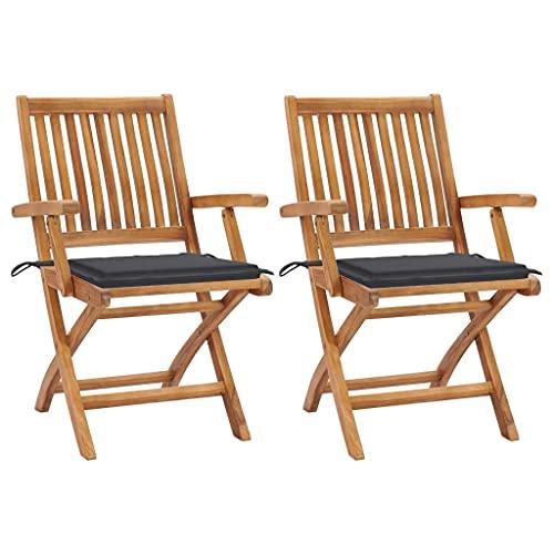 vidaXL 2X Teak Massiv Gartenstuhl mit Anthrazit Kissen Gartenstühle Klappstuhl Klappstühle Holzstuhl Gartenmöbel Terrasse Balkon Stuhl Stühle