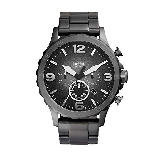 Fossil Men's Nate Quartz Stainless Chronograph Watch, Color: Smoke (Model: JR1437)