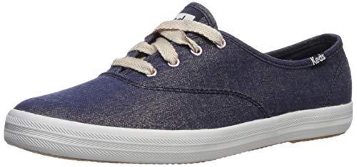 Keds Women's Champion Lurex Denim Sneaker, Navy, 5.5 M US