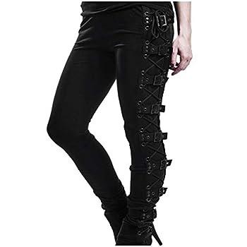 Plus Size Womens Pants Gothic Criss Cross Lace Up Buckle Strap Skinny Leggings Steampunk Ladies Trouser Black