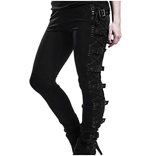 cinnamou Damen Gothic Hose Damen Cool Hosen Lange Streetwear Punk Steampunk Hose Slim Fit Leggings Cargohosen Solid Schwarz Seitengurt