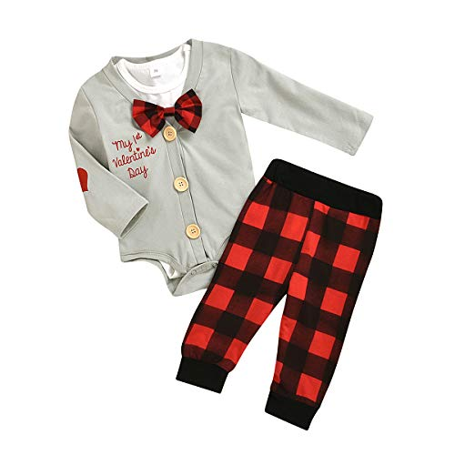 Borlai 3pcs Baby Valentines Outfits my First Valentines Day Mameluco Lindo Conjunto de Ropa (Gris + Cuadros, 12~18 Meses)