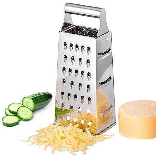 Küchenreibe aus Edelstahl, Quadratische Reibe, Edelstahl 4-seitige Reiben, Käse Reibe, Vierkantreibe Reibe für Obst, Gemüse, Käse, Karotten, Vierkantreibe, spülmaschinengeeignet