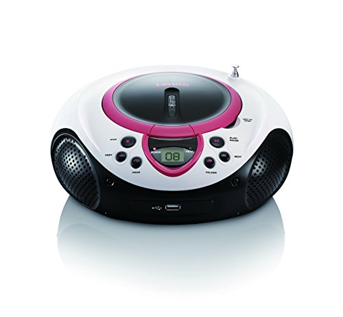 Lenco Kinder Radio CD-Player SCD-38 tragbares UKW-Radio mit CD/MP3-Player und USB in pink