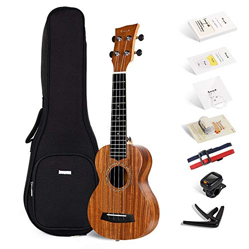 Enya Ukulele Soprano 21 pulgadas EUS-70 KOA Ukuleles con Afinador Correa Cejilla Cuerdas ukuleles para Accesorios