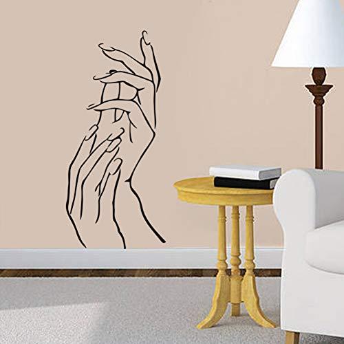 KLMQT Pegatina De Pared 3D Girl Nail Art Hands Beauty Shop Elegant Finger Vinilo Adhesivo De Pared para Sala De Estar Habitación para Niños Tatuajes De Pared Decoración para El Hogar