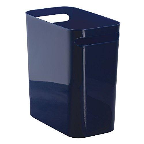 iDesign Una Papierkorb mit Handgriffen, Abfalleimer aus Kunststoff für Büro, Küche oder Bad, marineblau