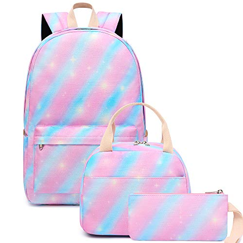 Girls Backpack Bookbags School Bag Kids Rainbow Tie Dye Teen School Backpack Set with Lunch Box and Pencil Case Pink