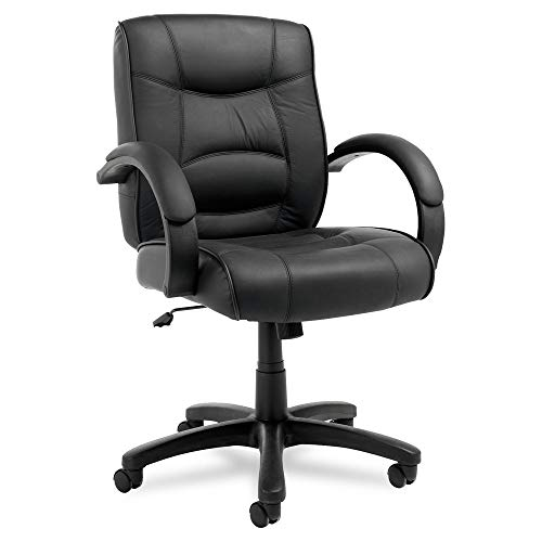 Alera ALE Strada Series Mid-Back Swivel/Tilt Chair w/Black Top-Grain Leather