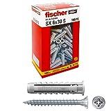 Fischer 100 Tasselli SX con vite, 6 x 30 mm, per Muro pieno e Mattone Forato, 542446