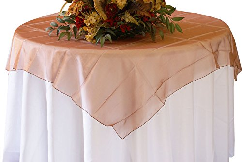 """Wedding Linens Inc. (2 PCS) 72"""" Square Organza Sheer Table Overlays Toppers Organza Tablecloths Table Covers Linens for Wedding Party Banquet Events - Copper"""
