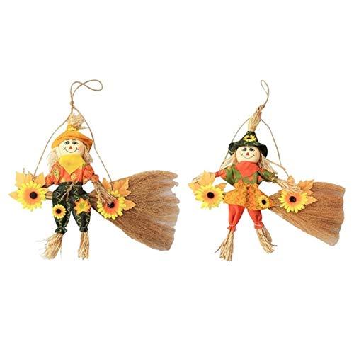 XININ - Paquete de 2 Adornos de espantapájaros, muñeca de Paja de pie, diseño de Escritorio, decoración de Halloween para el hogar
