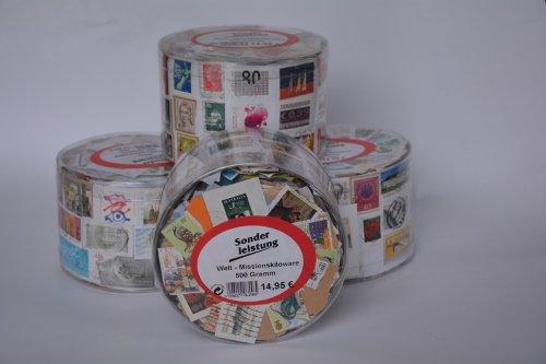 Goldhahn 500 Gramm Welt Kiloware in Runddose Briefmarken für Sammler