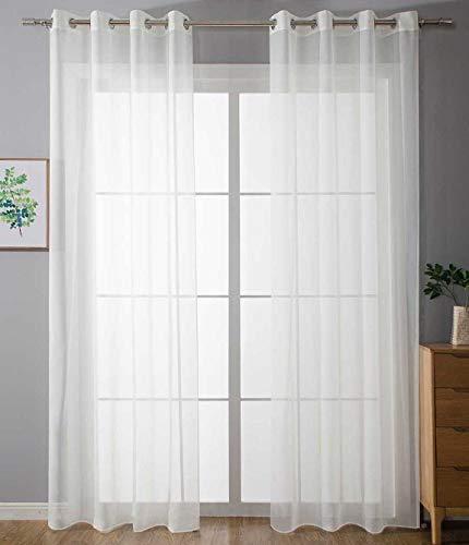 2er Set Ösenvorhänge Transparent »Uni« Gardine HxB 225x140 cm Weiß Stores Vorhang Ösen Bleibandabschluß Wohnzimmer, 20332-cn2
