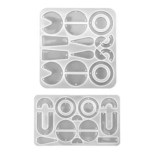 KunmniZ 1 juego de moldes geométricos de resina epoxi de cristal para pendientes de oreja, molde de silicona para manualidades, joyería, para Pascua