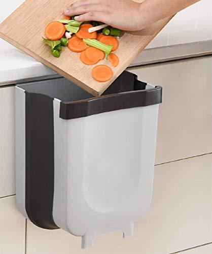 BuBu Cubo Basura Extraible Plegable Cubo de Basura de Reciclaje Cubo Basura Colgante Cubo Basura organico 9L (Blanco)